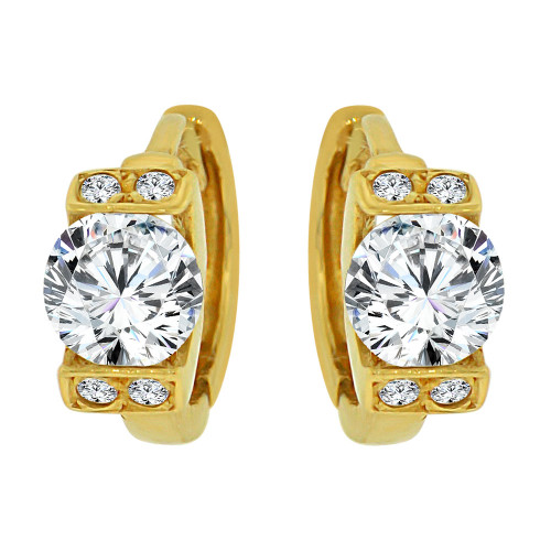 14k Yellow Gold, Mini Hoop Huggies Stud Earring Created CZ Crystals (E018-013)