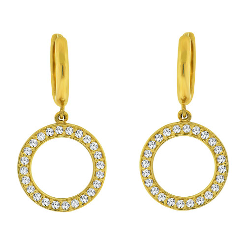 14k Yellow Gold, Circle of Life Dangling Earring Created CZ Crystals (E018-019)