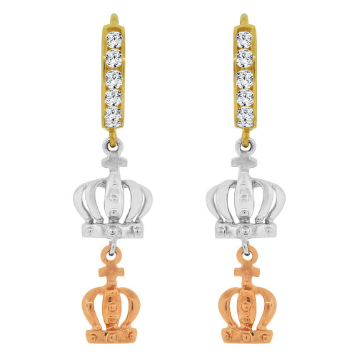 14k Tricolor Gold, Tiara Crown Design Dangling Drop Earring Created CZ Crystals (E018-020)