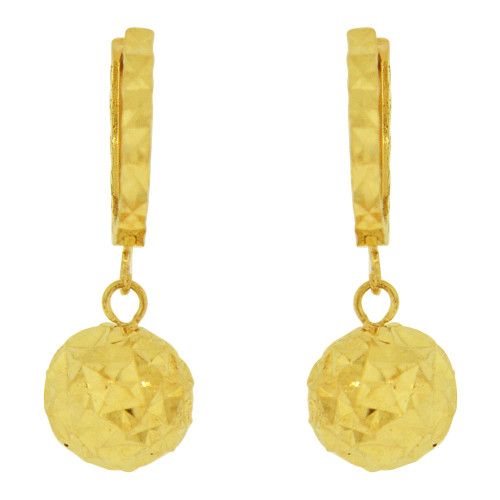 14k Yellow Gold, Fancy Dangling Sparkling Crystal Cut Ball Bead Earring 7mm Wide (E018-027)