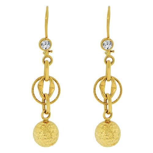 14k Yellow Gold, Fancy Dangling Sparkling Crystal Cut Ball Bead Links Earring 11mm Wide (E018-028)
