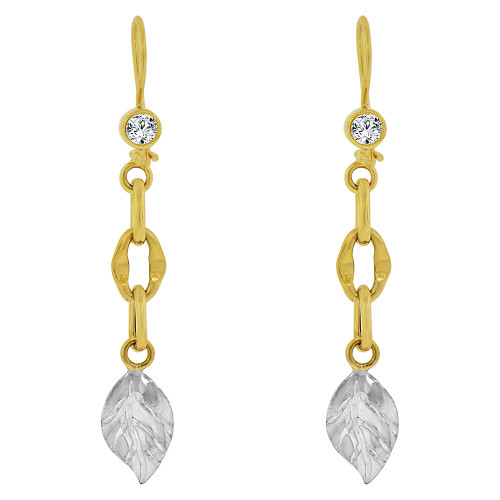 14k Yellow & White Gold, Fancy Dangling Leaf Links Earring Created CZ Crystals 8mm Wide (E018-029)