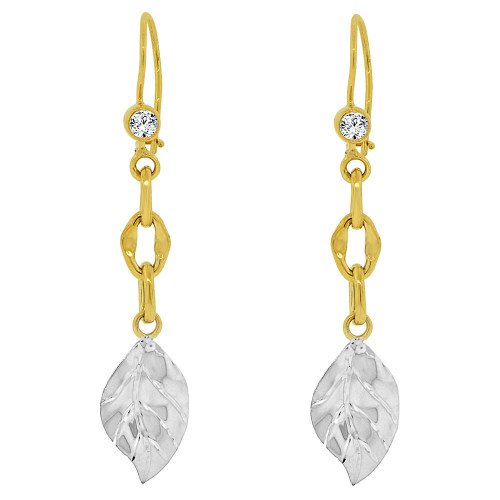 14k Yellow & White Gold, Fancy Dangling Leaf Links Earring Created CZ Crystals 11mm Wide (E018-030)