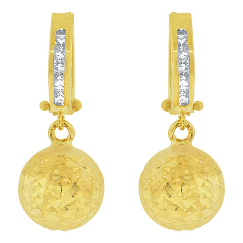 14k Yellow Gold, Sparkling Bead Ball Dangle Earring Huggies Clasps Created CZ Crystals 10mm Wide (E018-032)