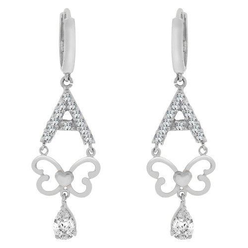 14k White Gold, Modern Butterfly A Frame Design Dangling Drop Earring Created CZ Crystals (E018-061)