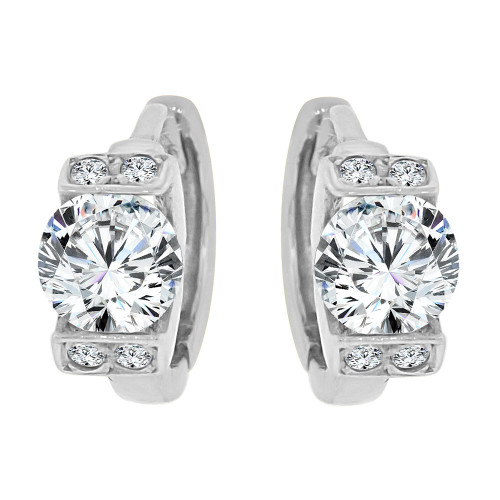 14k White Gold, Mini Hoop Huggies Stud Earring Created CZ Crystals (E018-063)