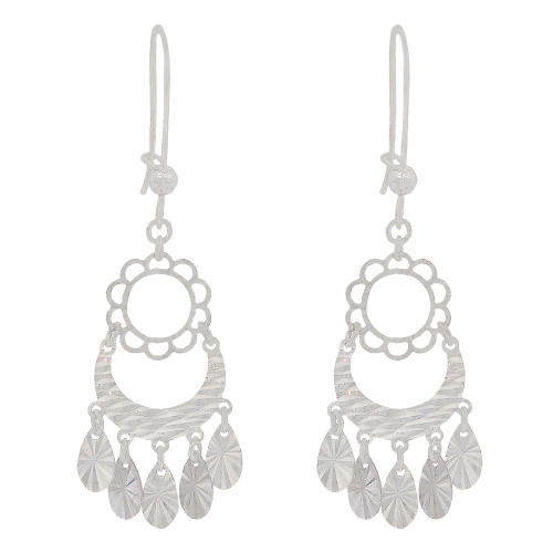 14k White Gold, Super Sparkly Fancy Chandelier Dangling Earring  (E018-074)