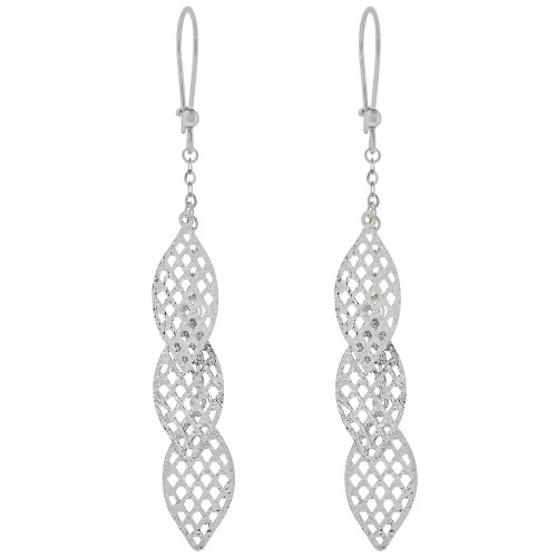 14k White Gold, Fancy Dangling Marquise Shape Elements Earring  (E018-075)