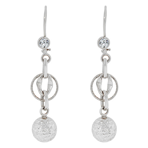 14k White Gold, Fancy Dangling Sparkling Crystal Cut Ball Bead Links Earring 11mm Wide (E018-078)