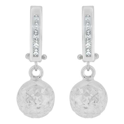 14k White Gold, Sparkling Bead Ball Dangle Earring Huggies Clasps Created CZ Crystals 8mm Wide (E018-081)