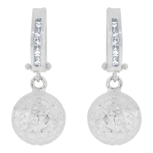14k White Gold, Sparkling Bead Ball Dangle Earring Huggies Clasps Created CZ Crystals 10mm Wide (E018-082)