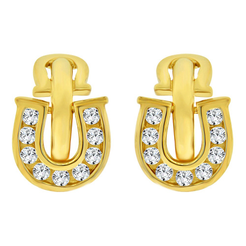 14k Yellow Gold, Good Luck Horseshoe Mini Hoop Earring Created CZ Crystals (E019-002)