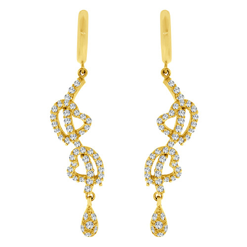 14k Yellow Gold, Fancy Heart Design Dangling Drop Earring Created CZ Crystals (E019-005)