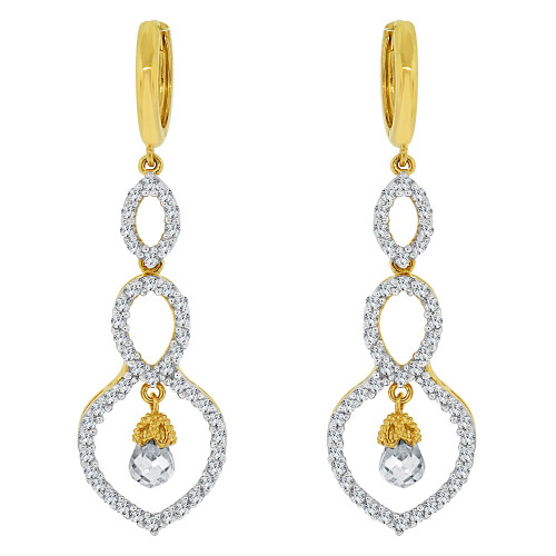 14k Yellow Gold White Rhodium, Fancy Design Dangling Drop Earring Created CZ Crystals (E019-010)