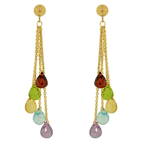 14k Yellow Gold, Colorful Strands Dangling Drop Earring Created CZ Crystals (E019-011)