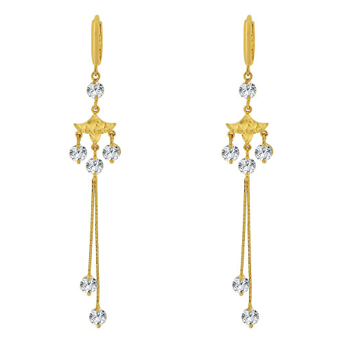 14k Yellow Gold, Long Dangling Drop Earring Created CZ Crystals (E019-013)