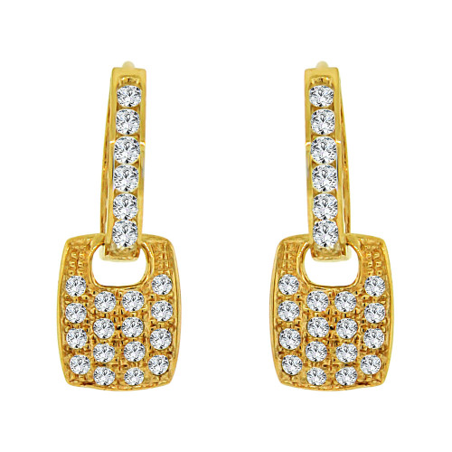 14k Yellow Gold, Modern Design Dangling Earring Created CZ Crystals (E019-014)