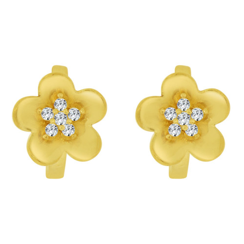 14k Yellow Gold, Mini Flower Hoop Huggies Stud Earring Created CZ Crystals (E019-026)