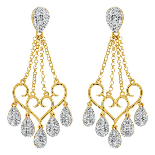 14k Yellow Gold White Rhodium, Fancy Chandelier Dangling Earring Created CZ Crystals (E019-027)