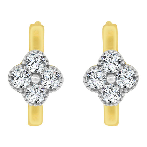14k Yellow Gold White Rhodium, Mini Flower Design Hoop Huggies Stud Earring Created CZ Crystals (E019-028)