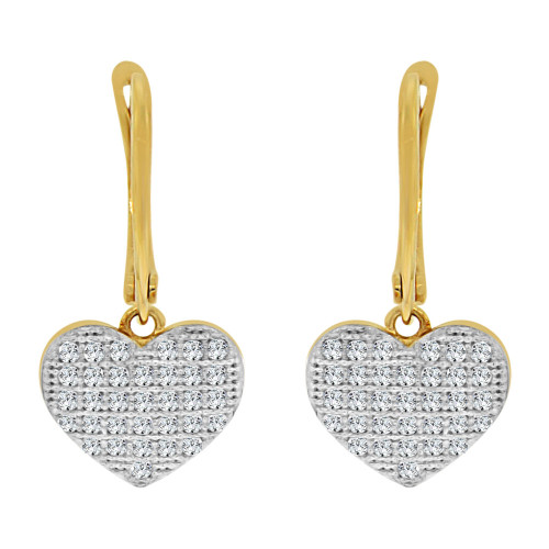 14k Yellow Gold White Rhodium, Heart Dangling Earring Created CZ Crystals (E019-030)