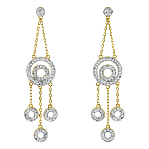 14k Yellow Gold White Rhodium, Fancy Circular Drops Dangling Earring Created CZ Crystals (E019-031)