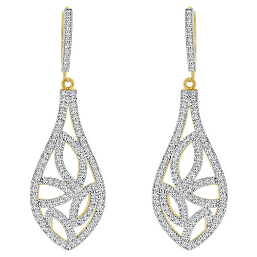 14k Yellow Gold White Rhodium, Fancy Design Drop Dangling Earring Created CZ Crystals (E019-032)