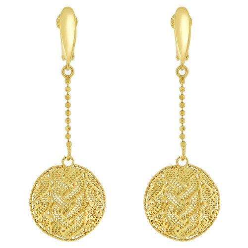 14k Yellow Gold, Fancy Filigree Round Disk Drop Earring (E019-033)