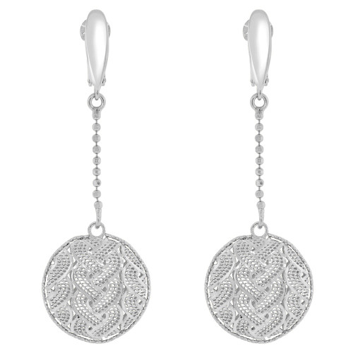 14k White Gold, Fancy Filigree Round Disk Drop Earring (E019-034)