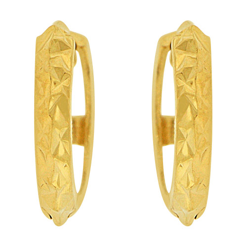 14k Yellow, Mini Size Classic Sparkly Cuts Huggies Earring (E019-036)