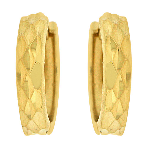 14k Yellow, Small Size Classic Sparkly Cuts Huggies Earring (E019-037)