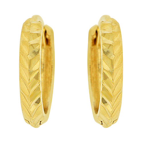 14k Yellow, Mini Size Classic Sparkly Cuts Huggies Earring (E019-038)