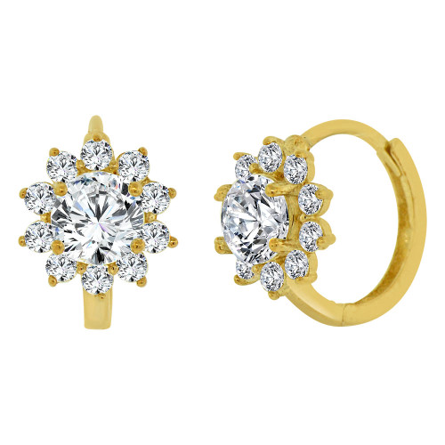 14k Yellow, Mini Size Classic Flower Burst Created CZ Crystals Huggies Earring (E019-039)