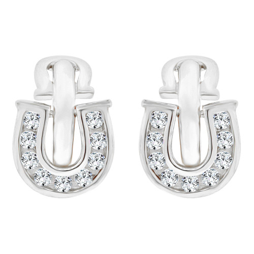 14k White Gold, Good Luck Horseshoe Mini Hoop Stud Earring Created CZ Crystals (E019-052)