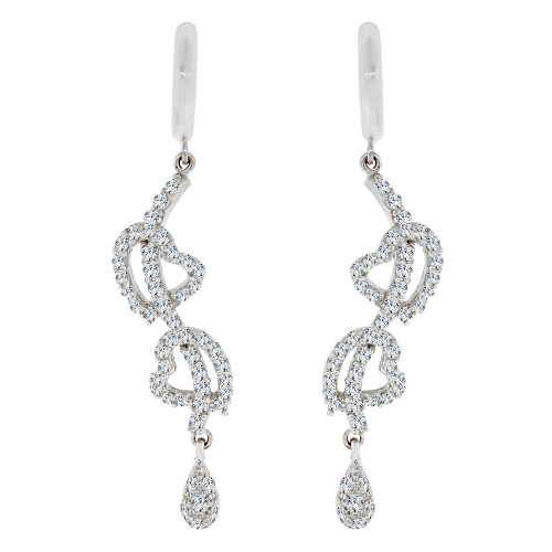 14k White Gold, Fancy Heart Design Dangling Drop Earring Created CZ Crystals (E019-055)