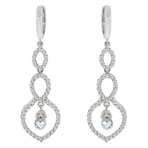 14k White Gold, Fancy Design Dangling Drop Earring Created CZ Crystals (E019-060)