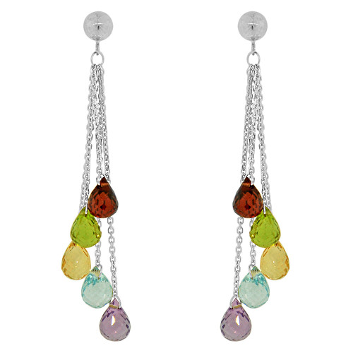 14k White Gold, Colorful Strands Dangling Drop Earring Created CZ Crystals (E019-061)