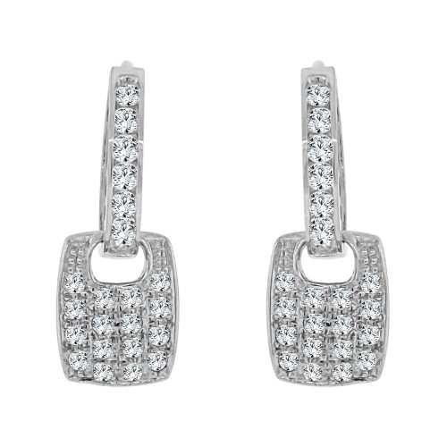 14k White Gold, Modern Dangling Earring Created CZ Crystals (E019-064)