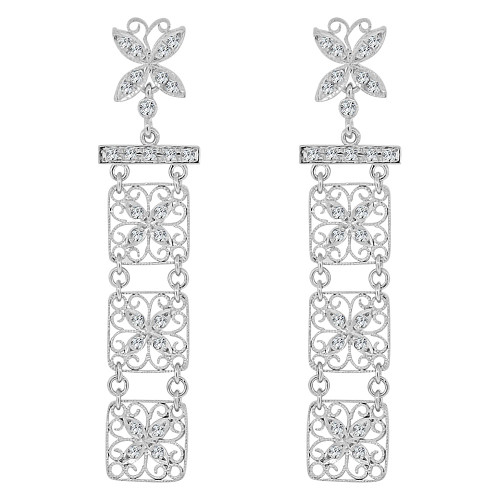 14k White Gold, Fancy Filigree Dangling Drop Earring Created CZ Crystals (E019-073)