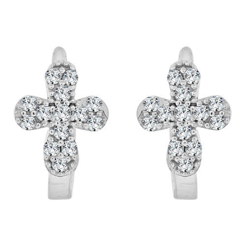 14k White Gold, Cross Design Mini Hoop Huggies Stud Earring Created CZ Crystals (E019-075)