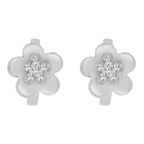 14k White Gold, Mini Flower Design Hoop Huggies Stud Earring Created CZ Crystals (E019-076)