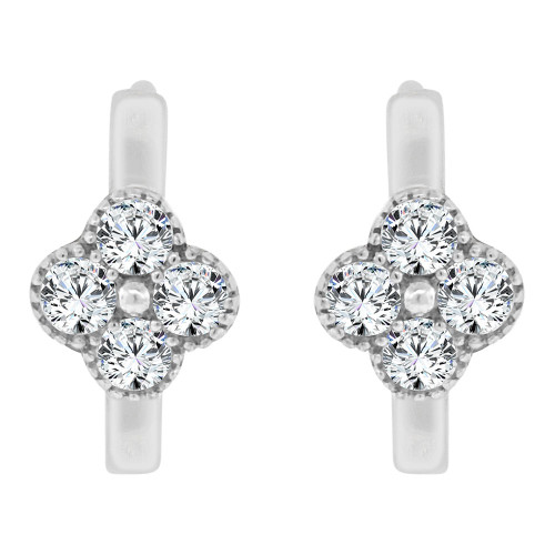 14k White Gold, Mini Flower Design Hoop Huggies Stud Earring Created CZ Crystals (E019-078)