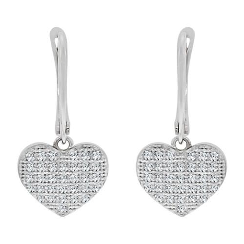 14k White, Heart Dangling Earring Created CZ Crystals (E019-080)