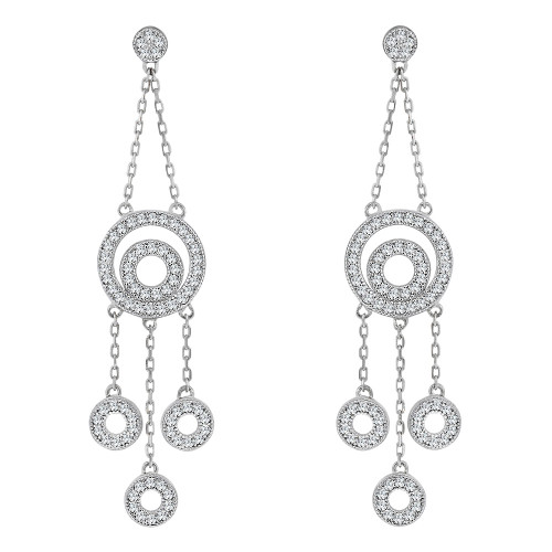 14k White, Fancy Circular Drops Dangling Earring Created CZ Crystals (E019-081)