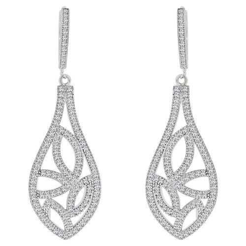 14k White, Fancy Design Drop Dangling Earring Created CZ Crystals (E019-082)