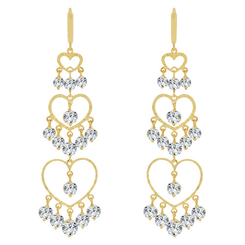 14k Yellow Gold, Bold & Stunning Triple Layer Heart Earring Created CZ Crystals (E010-021)