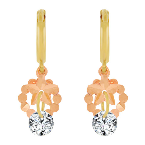 14k Yellow & Rose Gold, Star Dangling Drop Earring Created CZ Crystals (E010-026)