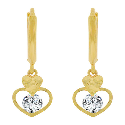 14k Yellow Gold, Heart Dangling Drop Earring Created CZ Crystals (E010-029)