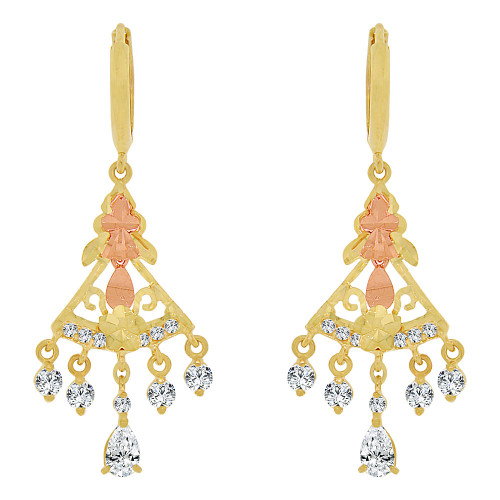 14k Yellow & Rose Gold, Mini Chandelier Dangling Drop Earring Created CZ Crystals (E010-030)