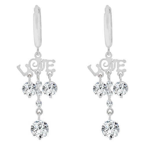 14k White Gold, LOVE design Dangling Earring Created CZ Crystals (E010-053)